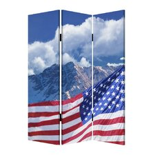 72 x 48 Model American Flag Screen 3 Panel Room Divider by Screen Gems