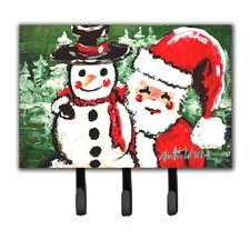 Friends Snowman and Santa Claus Leash Holder and Key Hook by Caroline's Treasures