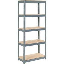 Wood Deck Rivet Lock 5 Shelf Shelving Unit by Nexel