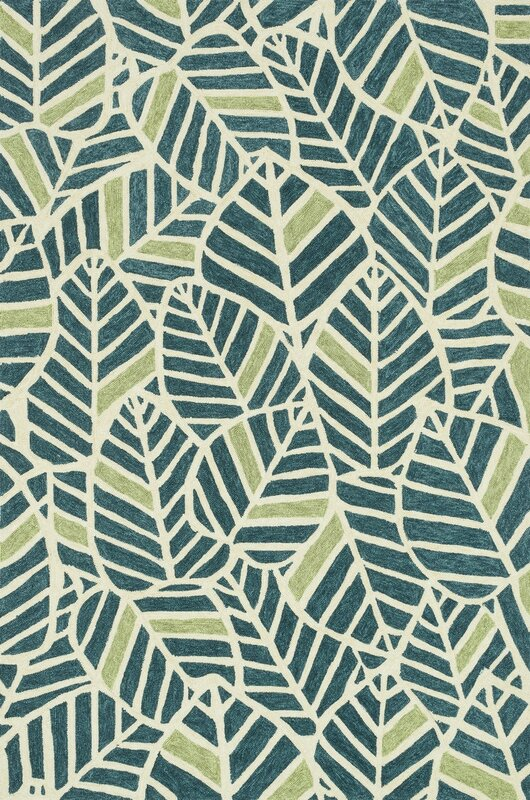 Loloi Rugs Tropez Hand-Hooked Blue/Green Indoor/Outdoor Area Rug ...