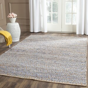 Delightful Arria Hand Woven Natural/Blue Jute Area Rug