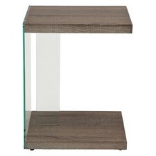 Eulalie Glass/Reclaimed End Table by Ivy Bronx