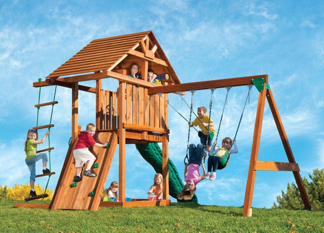 Kids Creations Kids Creation Redwood Circus 3 Swing Set ...