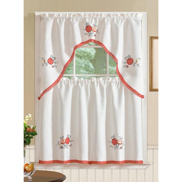 August Grove Gerberoy Apple 3 Piece Kitchen Curtain Set