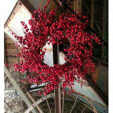 "24"" Red Spiral Berry Wreath"