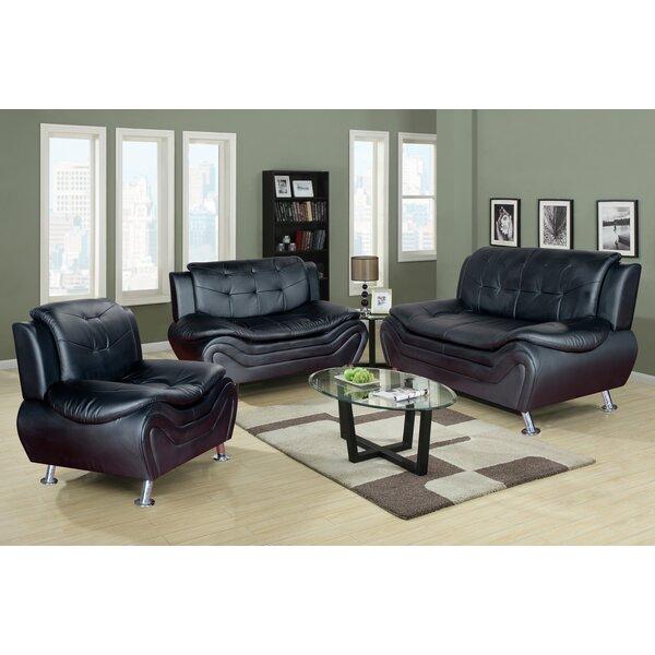 Latitude Run Algarve 3 Piece Leather Living Room Set U0026 Reviews | Wayfair