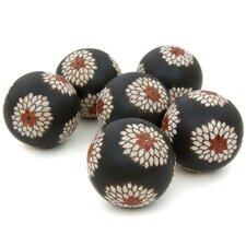 Porcelain Floral Decorative Ball Sculpture (Set of 6)