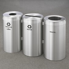 RecyclePro Value Series Triple Unit 45 Gallon Multi-Compartments Trash & Recycling Bin