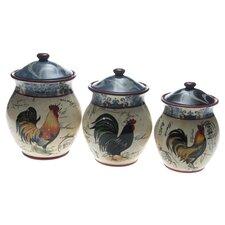 Lille Rooster by Geoffrey Allen 3 Piece Storage Jar Set