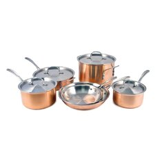 Calphalon Tri-Ply Copper 10-Piece Stainless Steel Cookware Set