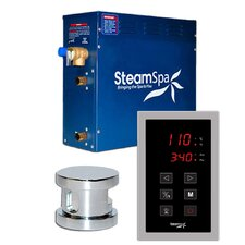 SteamSpa Oasis 9 KW QuickStart Steam Bath Generator Package in Polished Chrome by Steam Spa
