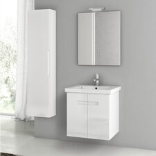 New York 24.4 Single Bathroom Vanity Set with Mirror by ACF Bathroom Vanities