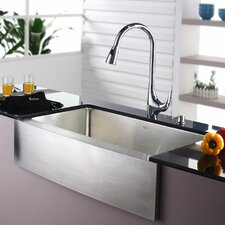"35.88"" x 20.75"" Farmhouse Kitchen Sink with Faucet and Soap Dispenser"