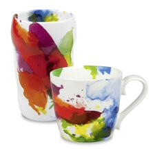 """On Color!"" Double Walled Grip Mug (Set of 2)"