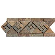 "12"" x 4.75"" Stone Mosaic Liner Tile in Rajah Multicolor"