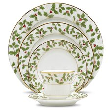 Holly and Berry Gold 5 Piece Place Setting, Service for 1