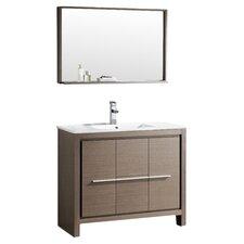 "Allier 40"" Single Bathroom Vanity Set with Mirror"