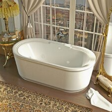 Royal 66.78 x 33.62 Oval Freestanding Soaking Jetted Bathtub with Center Drain by Spa Escapes