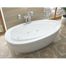 "Capricia 71"" x 38.37"" Oval Freestanding Whirlpool Jetted Bathtub"