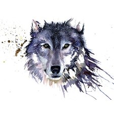 'Snow Wolf' by Sarah Stokes Watercolour Painting Print on Canvas