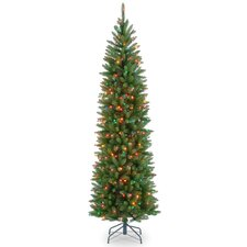 "Kingswood Fir 90"" Hinged Pencil Tree with 350 Multi-Color Lights"