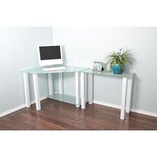 White Lines Computer Desk with Extension and Shelf