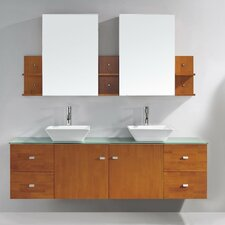 Clarissa 72 Double Bathroom Vanity Set with Tempered Glass Top and Mirror by Virtu USA