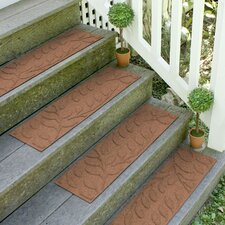 Aqua Shield Dark Brown Brittany Leaf Stair Tread (Set of 4)
