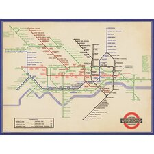 'Vintage 1936 London Underground Map' Graphic Art Print, Poster
