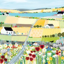 'Bright Meadow' by Janet Bell Framed Wall art on Canvas