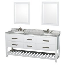 Natalie 72 Double White Bathroom Vanity Set with Mirror by Wyndham Collection