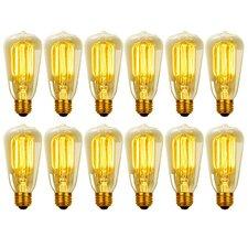 40W Vintage Edison S60 Squirrel Cage Incandescent Filament Light Bulb (Set of 12)