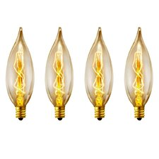 Vintage Edison 25 Watt (2700K) B10 Flame Tip Incandescent Filament Light Bulb (Pack of 4) (Set of 4)