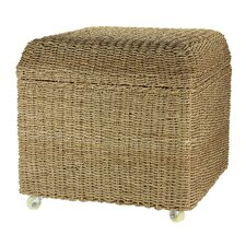 Rolling Seagrass Wicker Storage Seat Ottoman by Household Essentials