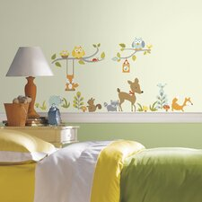 Pink Light Design 52 Piece Woodland Fox with Friends Wall Decal