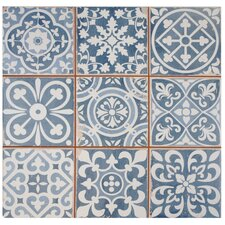 "Faventie Azul 13"" x 13"" Ceramic Patterned/Field Tile in Blue"