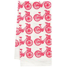 Organic Bike All Over Pattern Block Print Tea Towel
