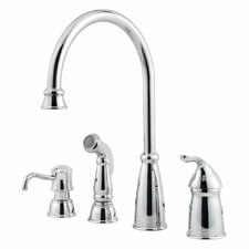 Avalon Single Handle Deck Mounted Kitchen Faucet with Soap Lotion Dispenser and Side Spray