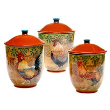 Rustic Rooster 3-Piece Storage Jar Set