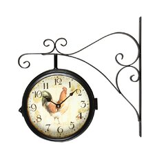 Vintage-Inspired Round Rooster Double-Sided Iron Wall Clock