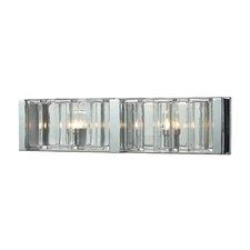 Corrugated Glass 2-Light Bath Bar