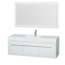 Axa 60 Single Glossy White Bathroom Vanity Set with Mirror by Wyndham Collection