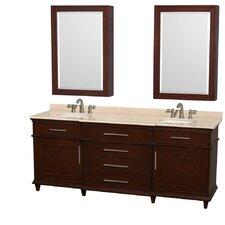 Berkeley 80 Double Dark Chestnut Bathroom Vanity Set with Medicine Cabinet by Wyndham Collection