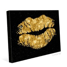 'Lips' Graphic Art on Wrapped Canvas in Black and Gold