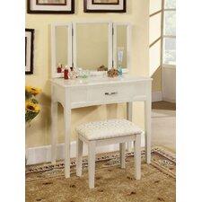 Luisa Vanity with Mirror & Stool Set