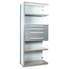 V-Grip 84 Shelving with Drawers Unit - 4Drw/5Shelf Closed AddOn, 4 drawers - (2) 4.5 & (2) 6 H; 400 lb capacity by Equipto