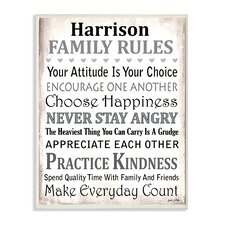 Personalized Family Rules by Janet White Textual Art on Wood