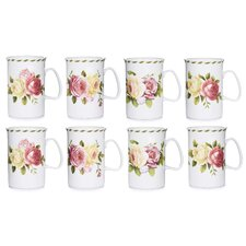 10.5cm Fine China Mug in Rose (Set of 8)