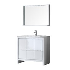 "Allier 36"" Single Bathroom Vanity Set with Mirror"