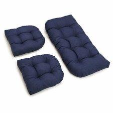 Outdoor Wicker Settee Cushion (Set of 3)